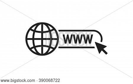 Www Web Icon. Globe And Arow Button Site For Page Design. Vector