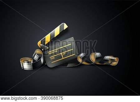 Online cinema art movie poster design with clapper and film-strip reel tape on dark black background. Cinematography concept. 3D illustration.
