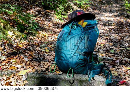 Backpack with hat inthe middle forest trail