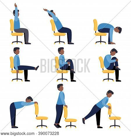 Set Of Black Men Doing Office Chair Yoga. Bundle Of Workers Workout For Healthy Back, Neck, Arms, Le
