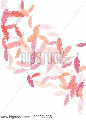 Beautiful Pink Flamingo Feathers Vector Background. Lightweigt Plumelet Windy Floating Pattern. Plum