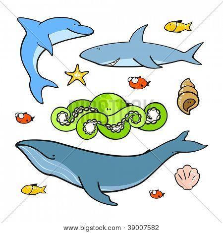 Sea animals (raster version)