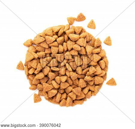 Dry Pet Food, Isolated On White Background. Pile Of Granulated Animal Feeds. Granules Of Good Nutrit