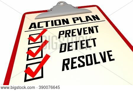 Prevent Detect Resolve Checklist Steps Recovery Process 3d Illustration