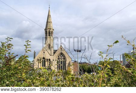 Doncaster, Yorkshire, England -  October 7, 2020. St James' Church Built In 1858 Against A Light  Bl