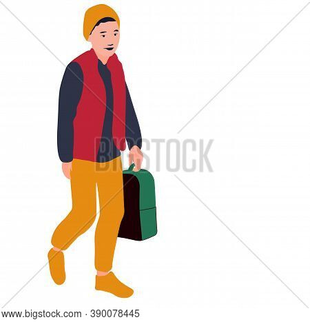 The Boy Goes To School Vector Stock Illustration. A Child With A Satchel In His Hands Goes To School