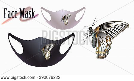 Vector Illustration Of A Butterfly On A Facial Mask. Beautiful Drawing For A Face Mask.