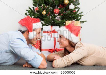 living home sweet couple on christmas