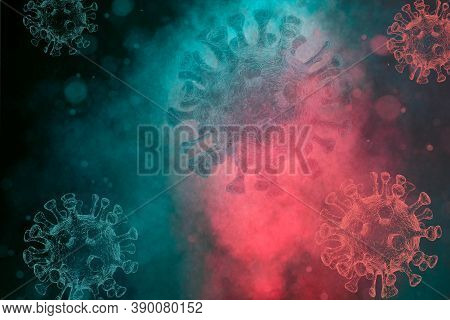 Abstract Digital Virus Background From Corona Virus. Red And Blue Fog. Viruses 3d Generated.