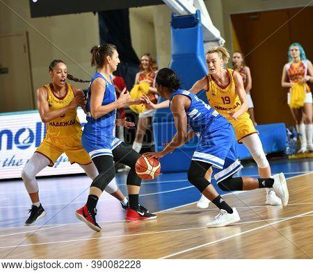 Orenburg, Russia - October 3, 2019: Girls Play Basketball