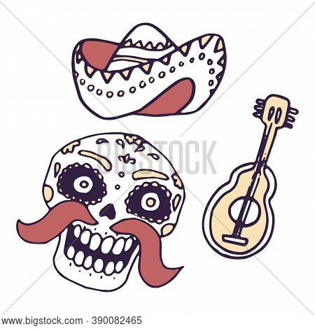 Calavera Skull, Guitar On White Isolated Backdrop. Day Of The Dead Symbol For Invitation Or Gift Car