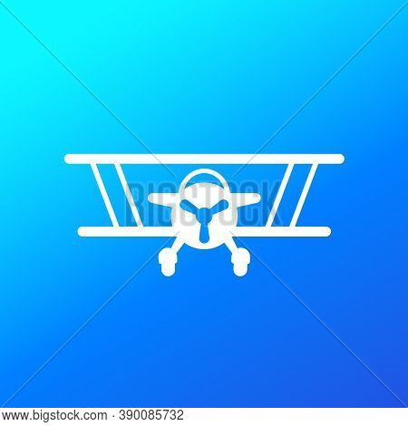 Biplane, Old Airplane Vector Icon, Eps 10 File, Easy To Edit