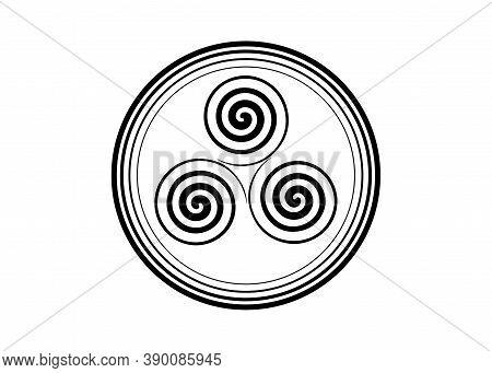 Triskelion Or Triskele Symbol. Triple Spiral Celtic Sign. Wiccan Fertility Symbol Round Logo Design.