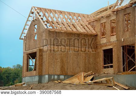 Plywood House Rafters Roof Wooden House Framework