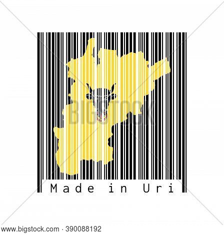 Barcode Set The Shape To Uri Map Outline And The Color Of Uri Flag On Black Barcode With White Backg
