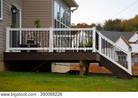 White Veranda And Railing Posts Porch Wall New Deck