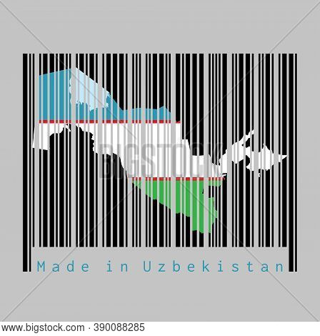 Barcode Set The Shape To Uzbekistan Map Outline And The Color Of Uzbekistan Flag On Black Barcode Wi