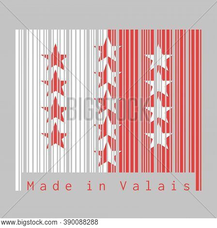 Barcode Set The Color Of Wallis Flag, The Canton Of Switzerland With Text Made In Valais. Concept Of