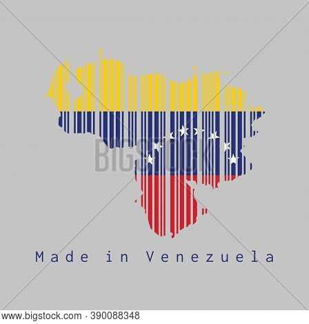 Barcode Set The Shape To Venezuela Map Outline And The Color Of Venezuela Flag On Grey Background, T
