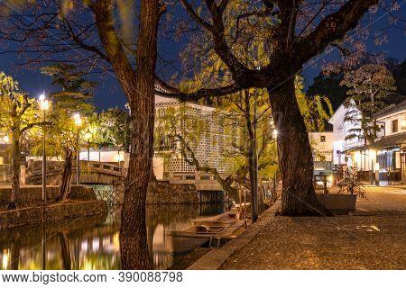 Okayama, Japan - Dec 27 2019 : Kurashiki Bikan Historical Quarter Light Up At Night. Townscape Known