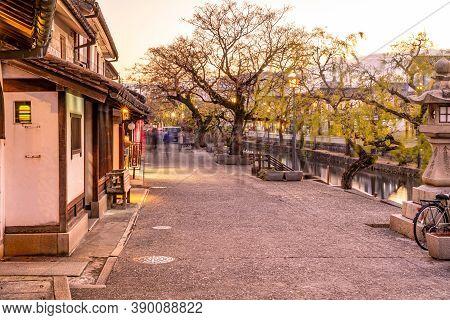Okayama Prefecture, Japan - Dec 27 2019 : Kurashiki Bikan Historical Quarter In Dusk. Townscape Know