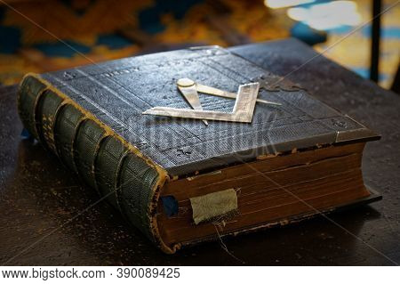 Ancient Masonic Holy Bible Book With Darkened Pages And Old Bookmarks In Dark Brown Leather Cover Wi