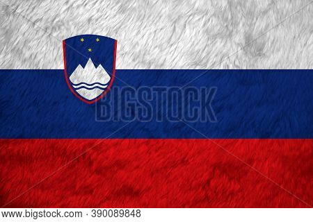 Towel Fabric Pattern Flag Of Slovenia, Crease Of Slovenian Flag Background. White Blue And Red, Char