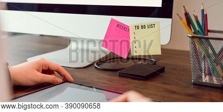 To Do List Concept, Hand Using Digital Tablet And Computer With Paper Note Planning And Daily Work S