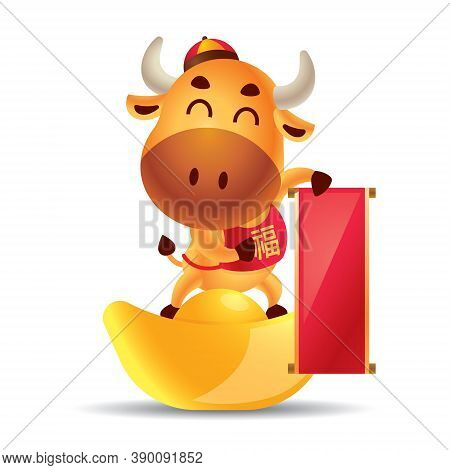 Chinese New Year 2021. Cartoon Cute Ox Holding Empty Big Chinese Scroll Couplet And Standing On Gold
