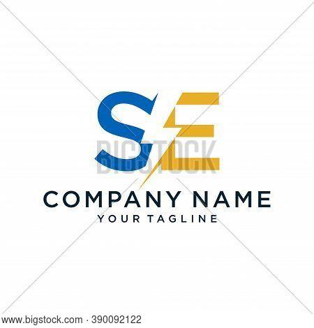 Se Letter Logo Design With Lightning Icon Concept. Vector Illustration