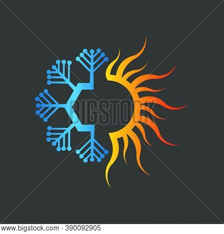 Fire Snow Heating And Cooling Logo For Hvac Business Company