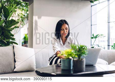 Smiling Happy Beautiful Balck Business Woman Wearing White Shirt Relaxing Using Laptop.young Hipster