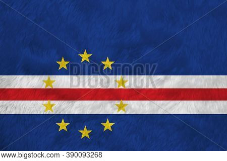 Towel Fabric Pattern Flag Of Cape Verde, Crease Of Cape Verde Flag Background, Blue White And Red Co