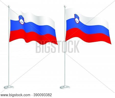 Slovenia Flag On Flagpole Waving In The Wind. Holiday Design Element. Checkpoint For Map Symbols. Is