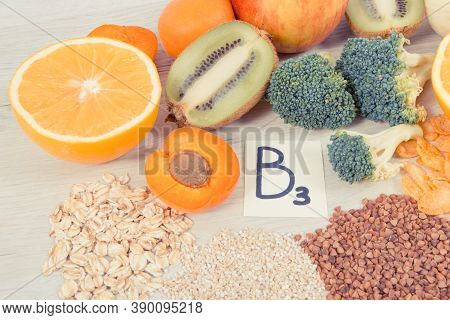 Nutritious Natural Ingredients Containing Vitamin Pp, B3, Dietary Fiber And Minerals, Concept Of Hea
