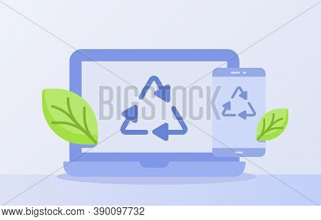 Electronic Waste Recycling Concept Recycle Icon Triangle On Display Laptop Smartphone Screen White I