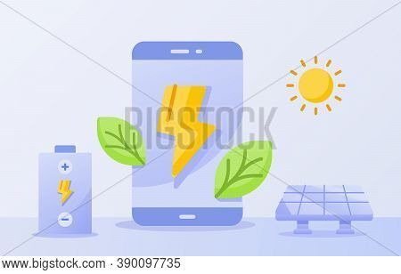 Efficient Battery For Smartphone Concept Green Leaf Lightning On Display Screen Solar Energy Sun Whi
