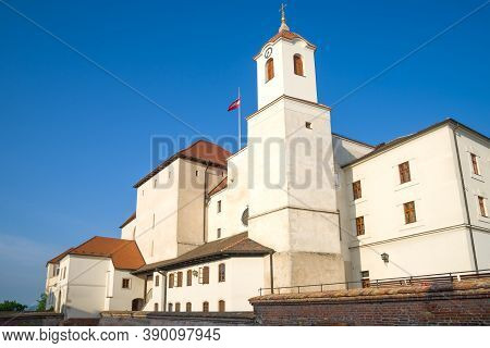 Shpilberk Castle Is Close-up Against The Background Of A Blue Cloudless Sky. Brno, Czech Republic