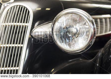 Headlight Lamp Vintage Car. Headlight Lamp Vintage Classic Car. Front Part With The Headlight Retro