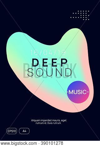 Music Fest. Electronic Sound. Night Dance Lifestyle Holiday. Fluid Holographic Gradient Shape And Li