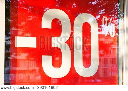 Sale. Shop Window With 30 Percent Discount. Seasonal Discounts In The Store. A 30% Off Clearance Sal