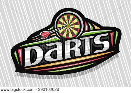 Vector Logo For Darts Sport, Dark Modern Emblem With Illustration Of Flying Darts Arrow In Target, U