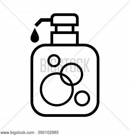 Alcohol Gel Bottle Icon Isolated On White, Bottle Pump Hand Wash Gel Symbol, Soap Gel Bottle For Ico