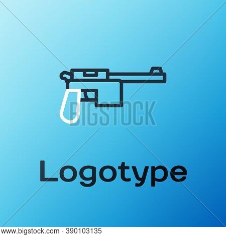 Line Mauser Gun Icon Isolated On Blue Background. Mauser C96 Is A Semi-automatic Pistol. Colorful Ou