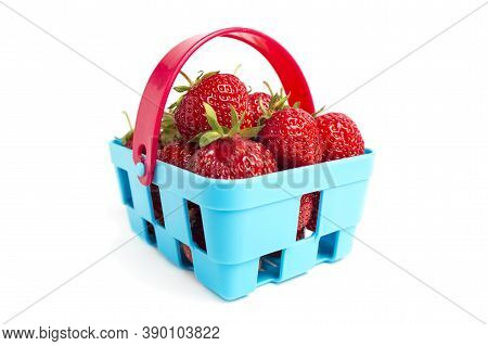 Basket Of Ripe Fresh Strawberries Isolated On White Background. Fresh Ripe Strawberries In Blue Bask
