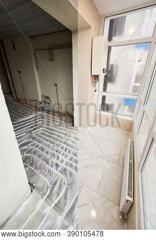 Comparison Of Old Room With Underfloor Heating Pipes And New Renovated Place With Plastic Window And