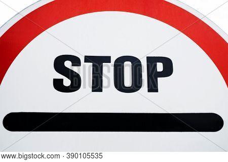 Red Stop Sign. Traffic Regulatory Warning Signage. Stop Traffic Warning