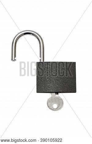 Unlocked Padlock And Key On White Background. Padlock With Key Isolated On White