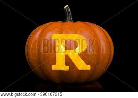 Letter R Carved In Pumpkin. Halloween Font On Black Background, 3d Rendering