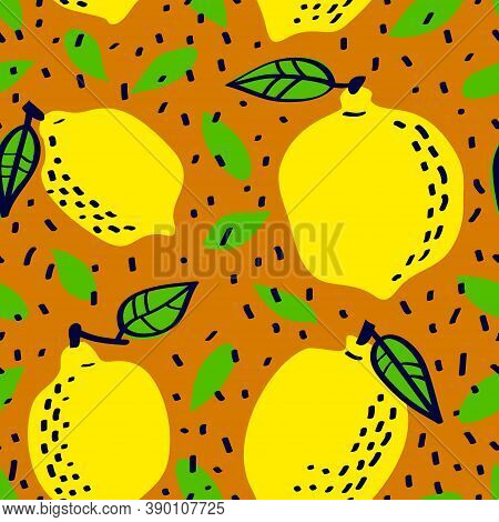 Fresh Lemon Fruit Seamless Pattern, Abstract Repeated Background. Citrus Design For Paper, Cover, Fa